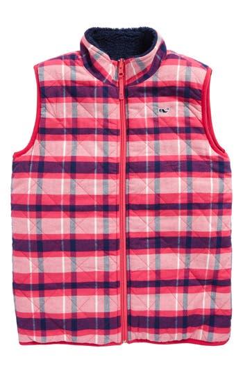 Girl's Vineyard Vines Reversible Plaid Fleece Vest, Size XS (5-6) - Blue