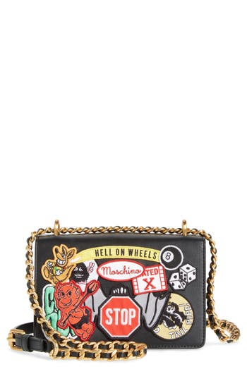 Moschino Multi Patch Leather Chain Shoulder Bag - Black