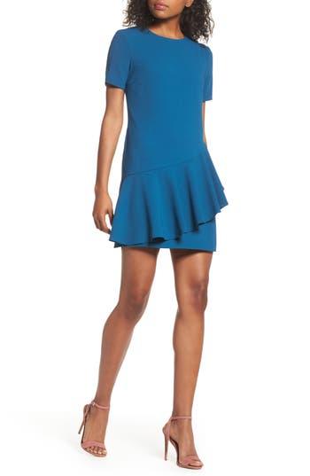 Charles Henry Asymmetrical Ruffle Shift Dress, Blue