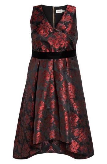 Plus Size Eliza J Sleeveless Jacquard High/low Dress, Red