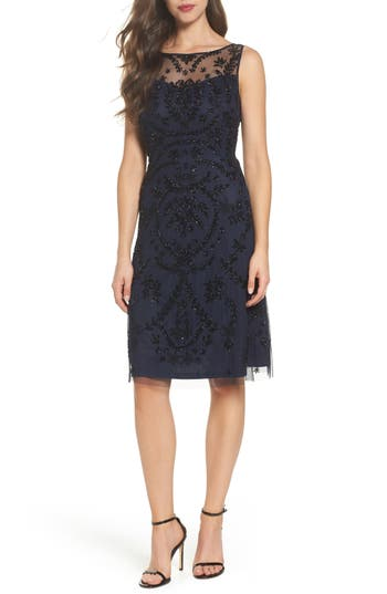 Adrianna Papell Beaded Cocktail Dress, Blue