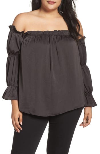 Plus Size Women's Soprano Off The Shoulder Puff Sleeve Top, Size 2X - Grey