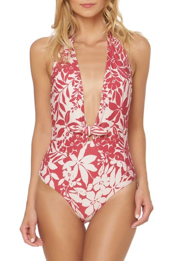 Red Carter Halter One-Piece Swimsuit, Red