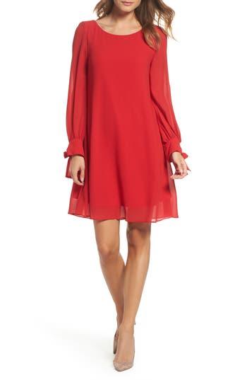 Taylor Dresses Souffle Chiffon Shift Dress, Red