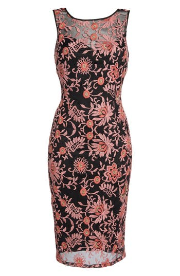 Adrianna Papell Embroidered Sheath Dress, Pink
