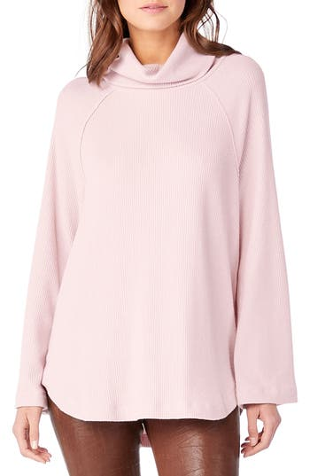 Michael Stars Ribbed Turtleneck Top, Pink