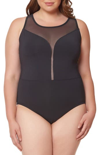 Plus Size Bleu Rod Beattie Mesh Plunge One-Piece Swimsuit, Black