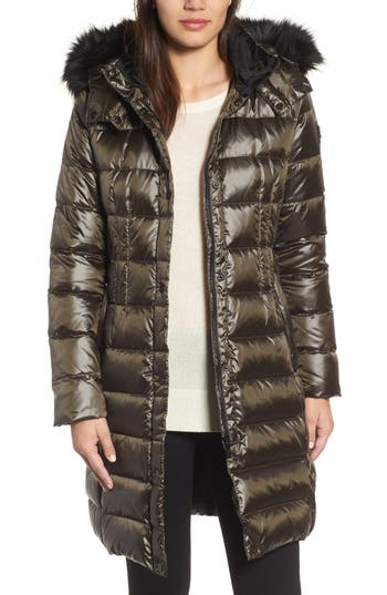 Donna Karan New York Down Puffer Coat With Faux Fur Trim, Green