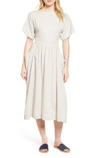 James Perse Stripe Midi Dress, White