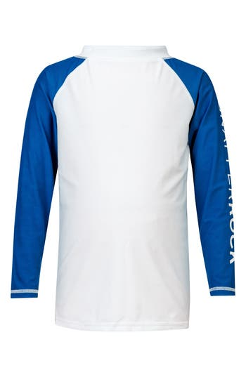 Boys Snapper Rock Contrast Long Sleeve Rashguard Size 8  White