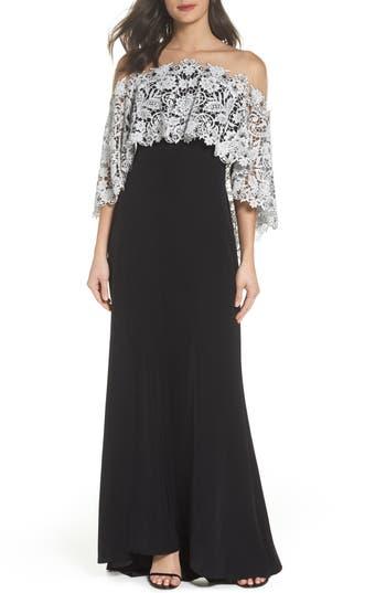 Tadashi Shoji Illusion Neck Cape Gown, Black
