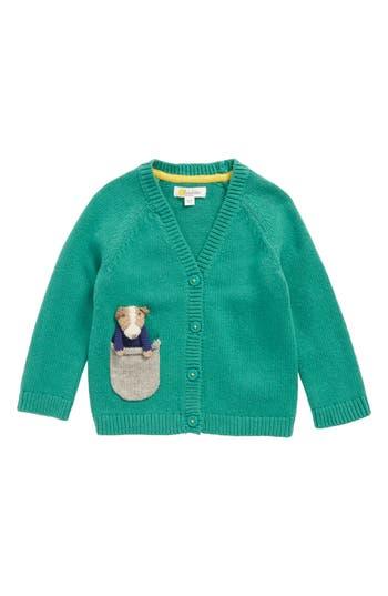 Toddler Boy's Mini Boden Pocket Pet Cardigan, Size 0-3M - Green