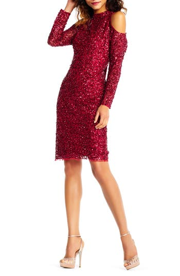 Adrianna Papell Beaded Cold Shoulder Sheath Dress, Red