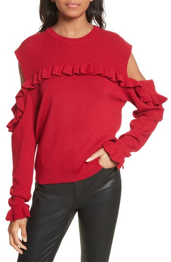 The Kooples Ruffle Cold Shoulder Merino Wool Sweater, Red