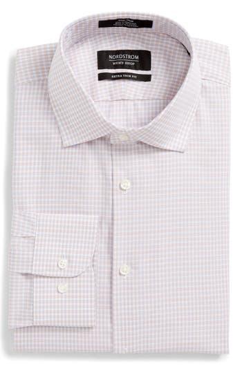 Men's Nordstrom Men's Shop Extra Trim Fit Non-Iron Check Dress Shirt, Size 14.5 32/33 - Orange