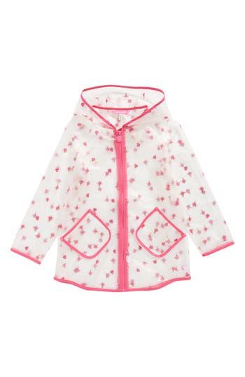Girl's Joules Print Sheer Rain Coat, Size 5Y - White