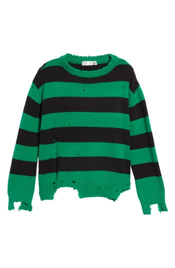 Women's Rdi Destroyed Stripe Sweater, Size X-Small - Green