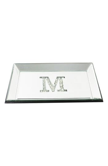 American Atelier Imitation Pearl Monogram Mirrored Trinket Tray, Size One Size - Metallic