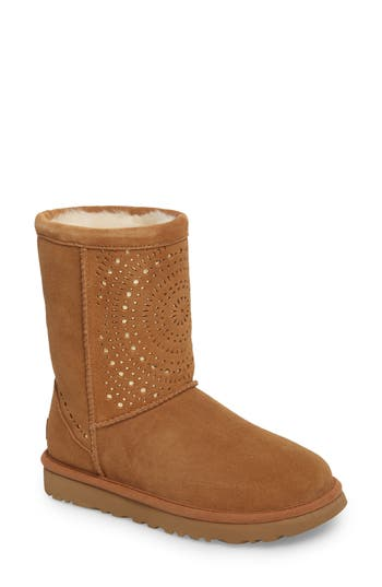 Ugg Classic Short Sunshine Perforated Boot, Brown