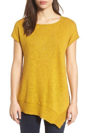 Women's Eileen Fisher Cap Sleeve Organic Linen & Cotton Scoop Neck Top, Size XX-Small - Yellow