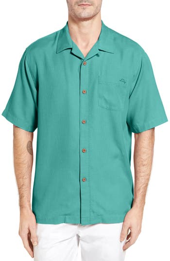 Men's Tommy Bahama Royal Bermuda Standard Fit Silk Blend Camp Shirt, Size Small - Green