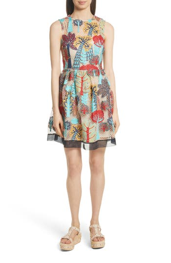 Red Valentino Embroidered Fit & Flare Dress, 8 IT - Red