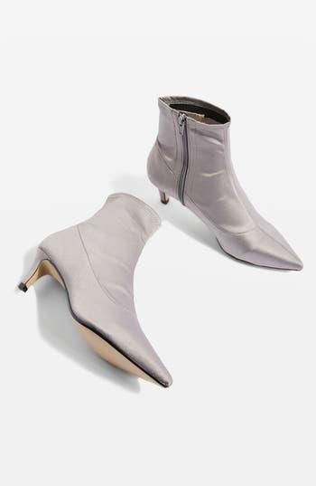 Topshop Bon Bon Satin Sock Bootie - Grey