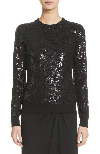 Women's Michael Kors Sequin Palm Cashmere Sweater, Size X-Small - Black