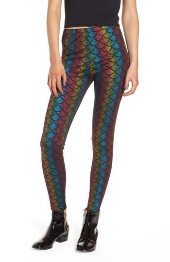 Jaded London Rainbow Mermaid Leggings, Black