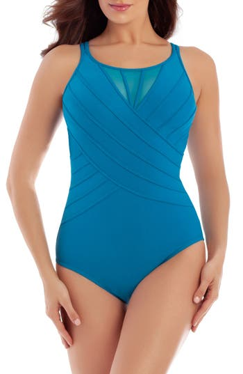 Miraclesuit Illusionists Bandwith High Neck Underwire One-Piece Swimsuit, Green
