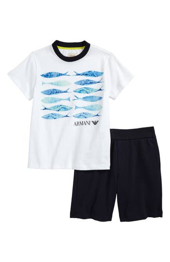 Boys Armani Junior Graphic TShirt  Shorts Set