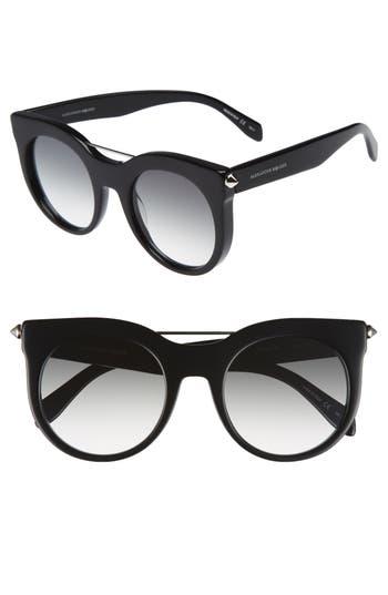 Alexander Mcqueen 52Mm Cat Eye Sunglasses - Black