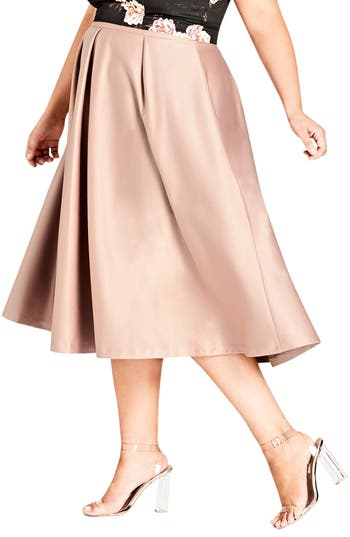 Plus Size City Chic Pucker Up Pleated Satin Midi Skirt, Brown