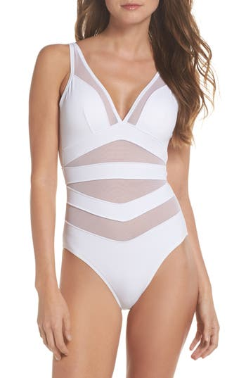 Ted Baker London Illiana Mesh Detail One-Piece Swimsuit, White