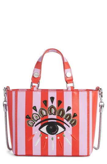 Kenzo Embroidered Eye Leather Tote - Red