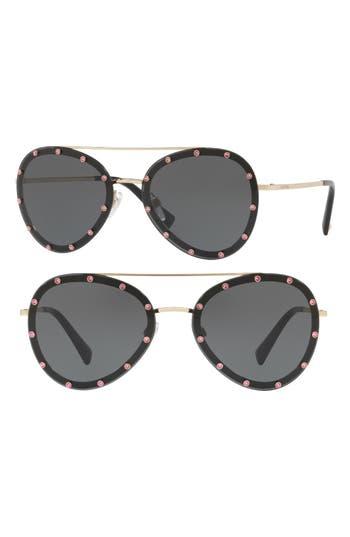 Women's Valentino 58Mm Metal Aviator Sunglasses - Light Gold