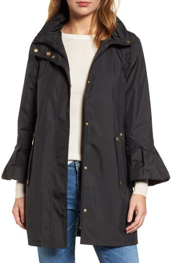 Gallery Flare Sleeve Packable Swing Jacket, Black