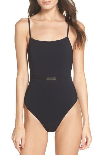 Diane Von Furstenberg Belted One-Piece Swimsuit, Size Petite - Black