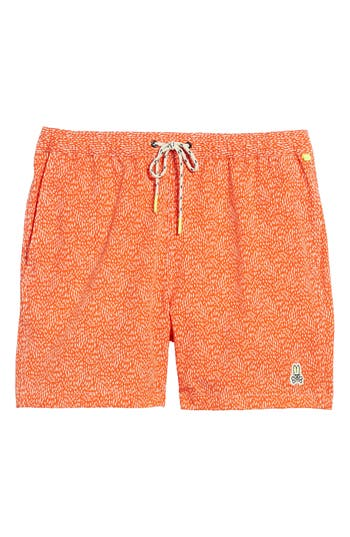 Men's Psycho Bunny Swim Shorts, Size Small - Orange
