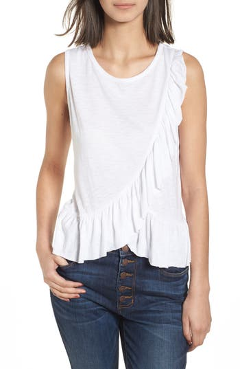 Women's Soprano Asymmetrical Ruffle Tank Top, Size X-Small - White