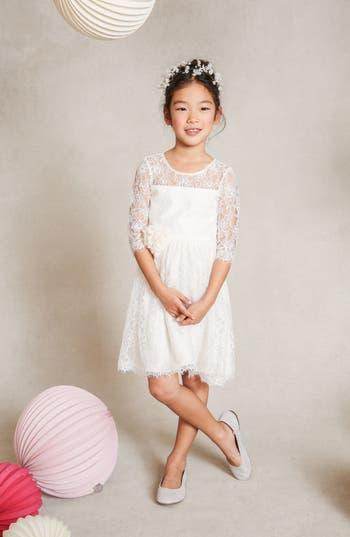 Girl's Jenny Yoo 'Annie' Floral Appliqué Lace Dress