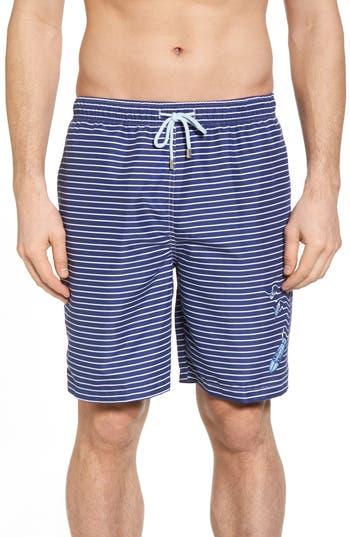 Men's Peter Millar Marlins Way Stripe Swim Shorts, Size Small - Blue
