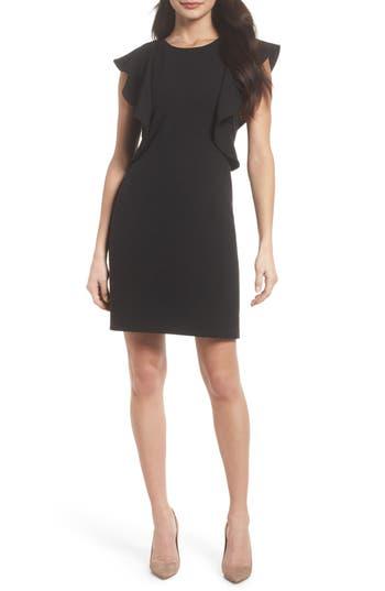 Women's Chelsea28 Ruffle Shift Dress, Size 0 - Black