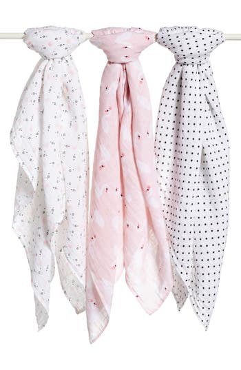 Nordstrom Baby 3-Pack Muslin Swaddles, Size One Size - White