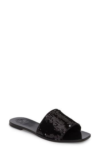Tory Burch Carter Sequin Slide Sandal, Metallic