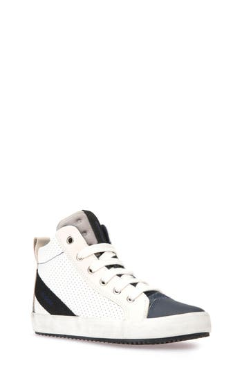 Boys Geox Alonisso Perforated Mid Top Sneaker Size 4US  36EU  White