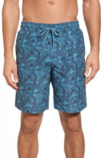 Men's Grayers Leaf Swim Trunks, Size Medium - Blue