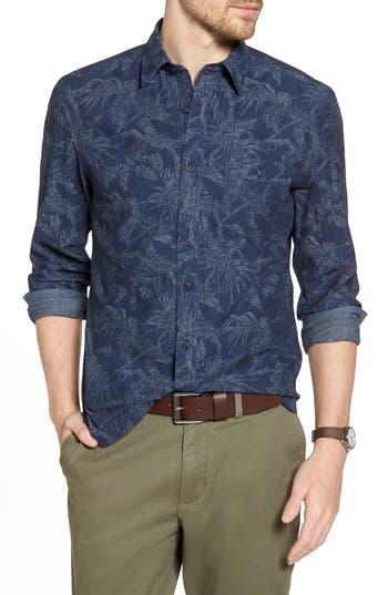 Big & Tall 1901 Trim Fit Print Sport Shirt - Blue
