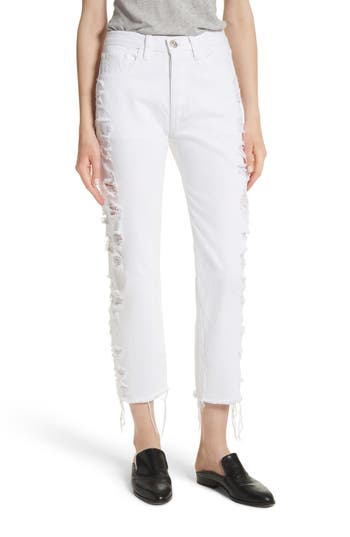 3x1 nyc female womens 3x1 nyc w3 higher ground distressed crop straight leg jeans size 23 white