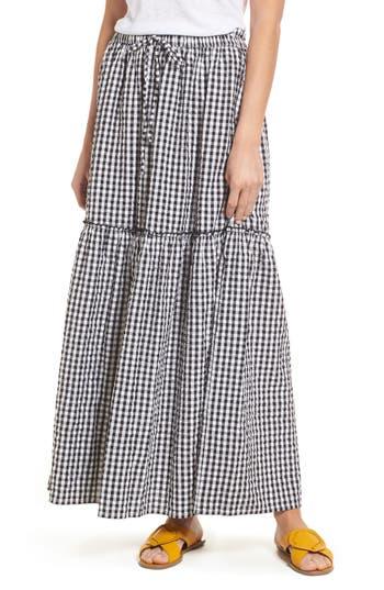 Caslon Drawstring Ruffle Cotton Maxi Skirt, Black